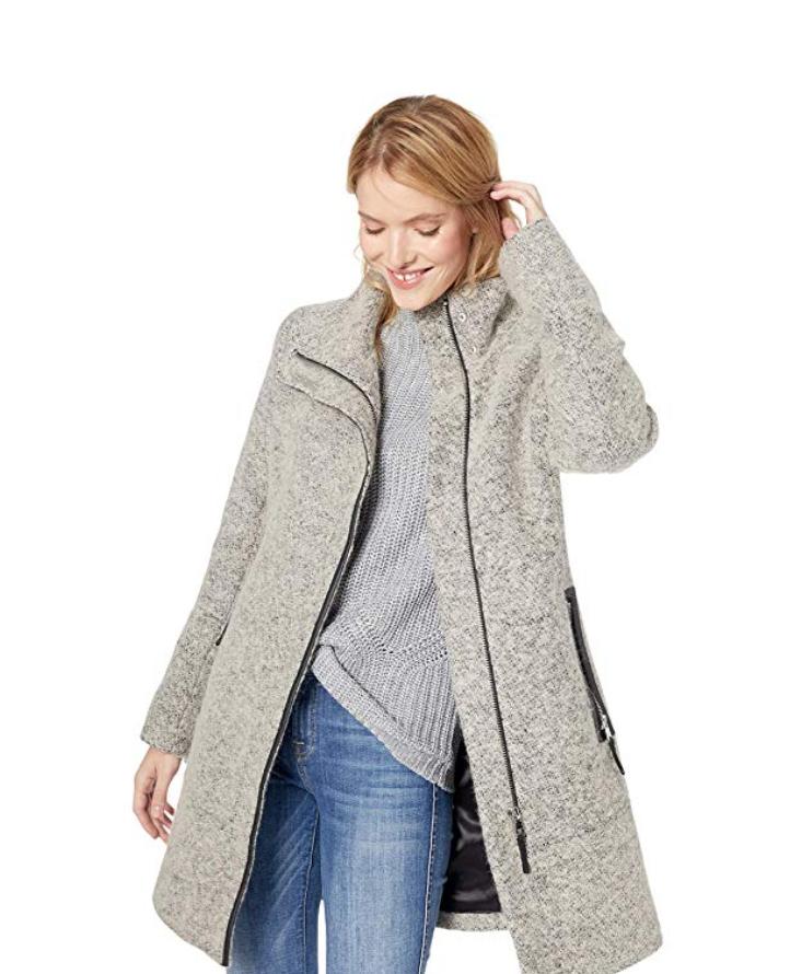 Screenshot_2019-11-20 Amazon com Calvin Klein Women's Wool Coat with Tunnel Collar and Pu Trim, Snap Bar Detail at Neck Clo[...]