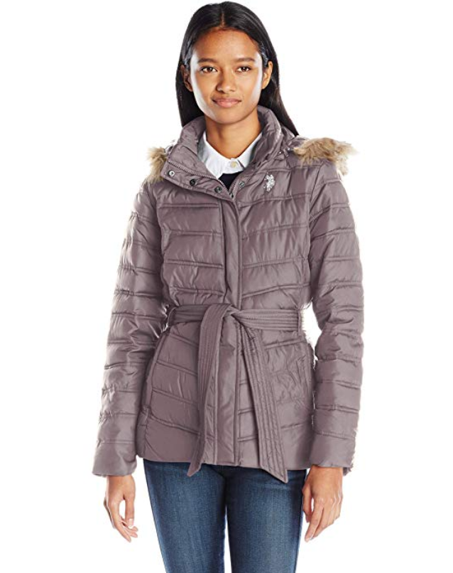 Screenshot_2019-11-20 Amazon com U S Polo Assn Women's Belted Puffer Jacket with Faux Fur Hood Trim Clothing