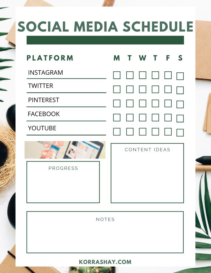Social Media Printable Calendar For Bloggers
