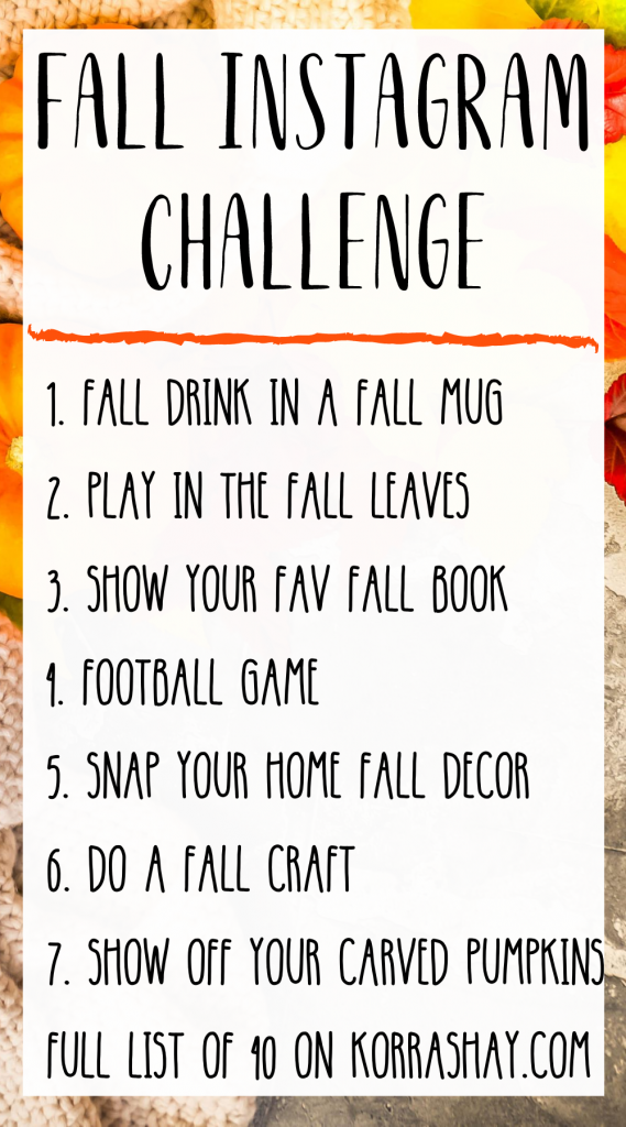 Fall Instagram Challenge Ideas!