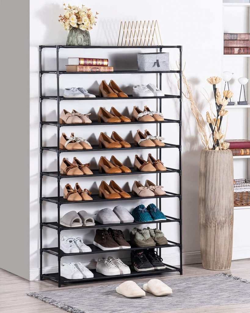 how to organize your shoes with a 10 tier shoe tower
