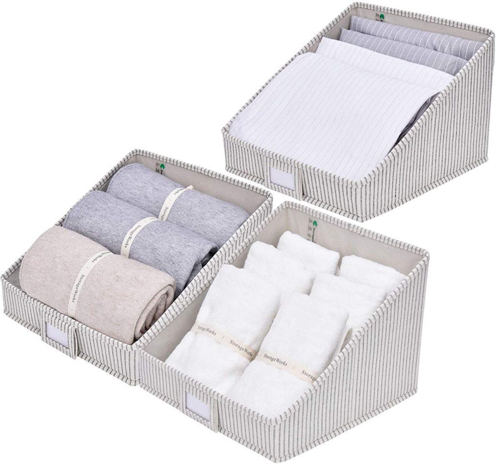 Trapezoid storage bins for organized closets
