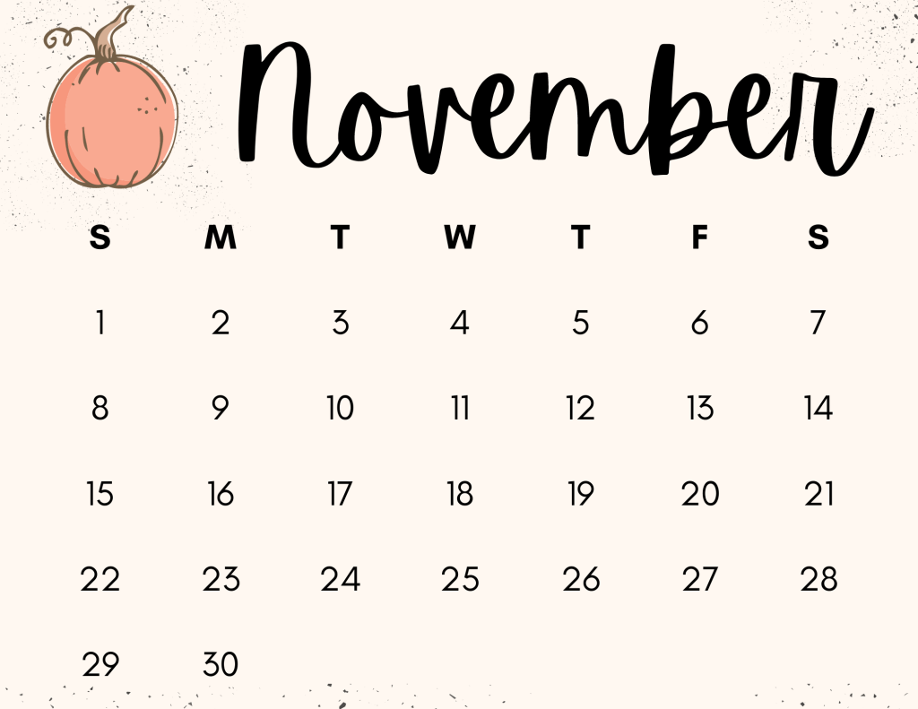 pumpkin monthly calendar for fall
