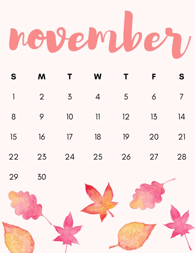 Watercolor November calendar- free