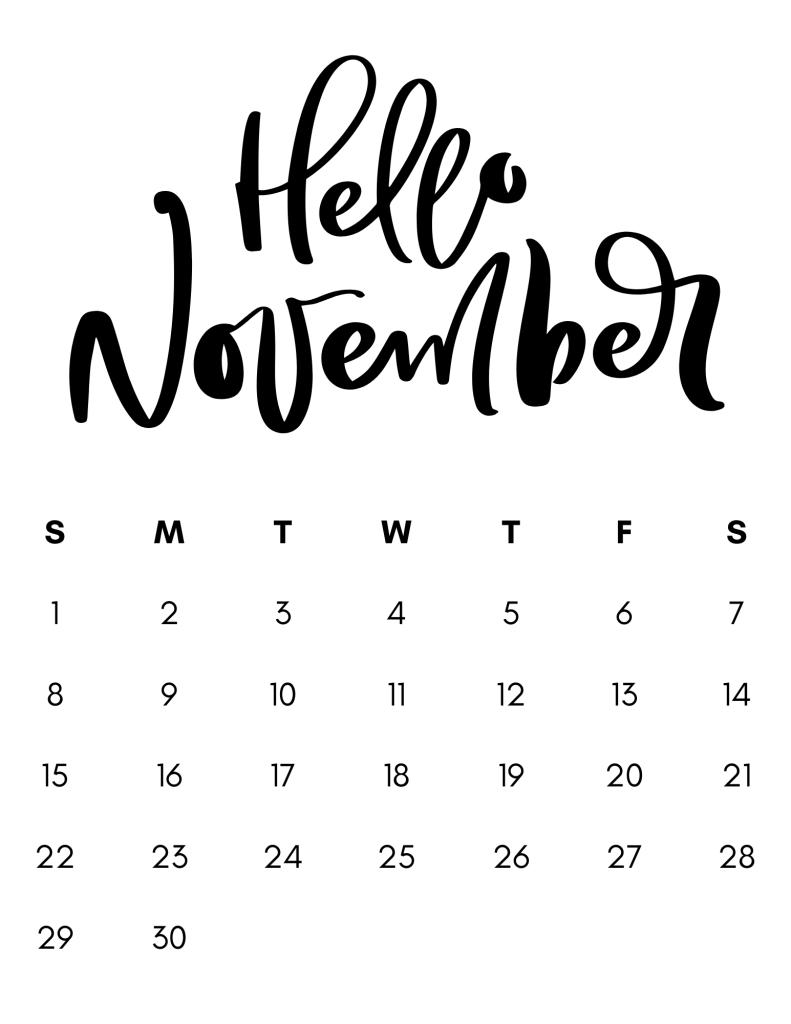 black and white minimalist calendar november 2020
