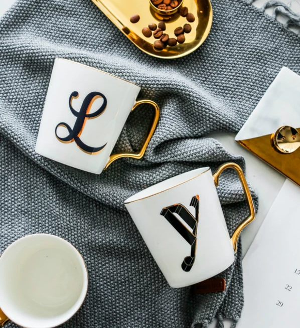 Monogrammed mugs: gift ideas for new homeowners, housewarming presents