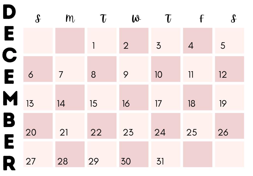 Girly free printable calendar for december