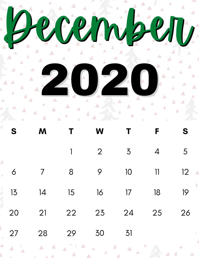 December 2020 calendar- christmas tree pattern