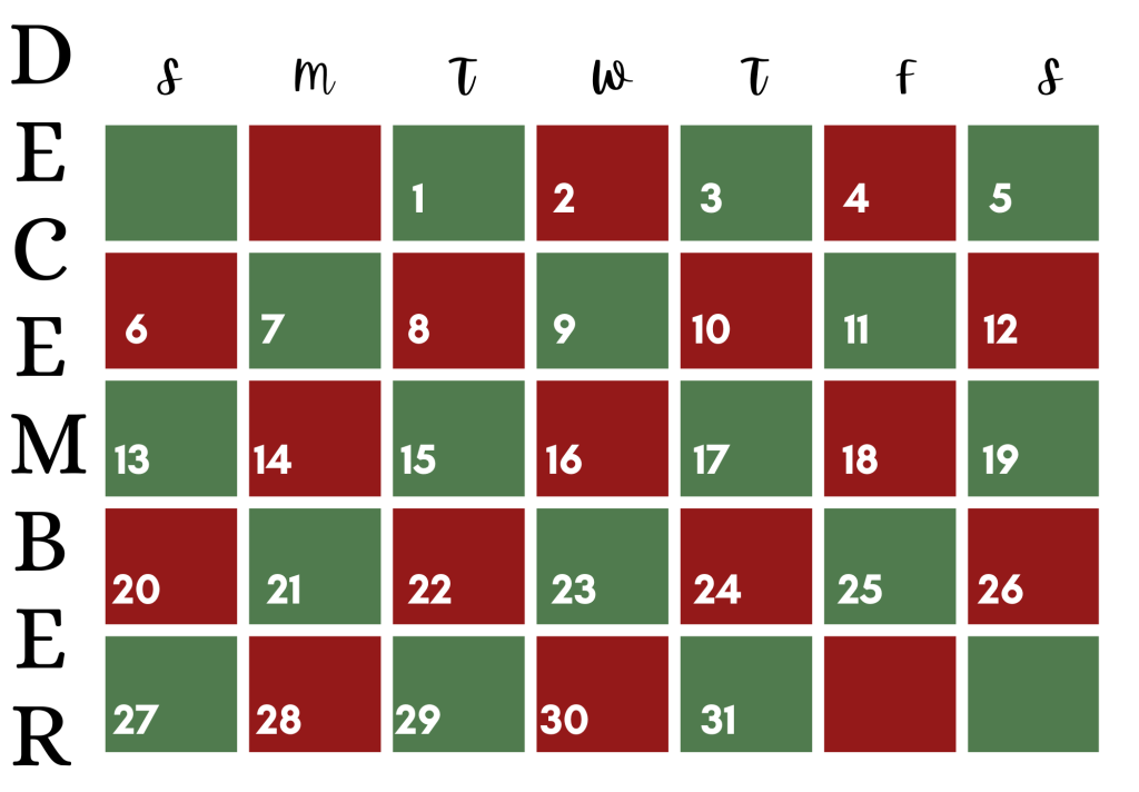 simple holiday december 2020 calendar