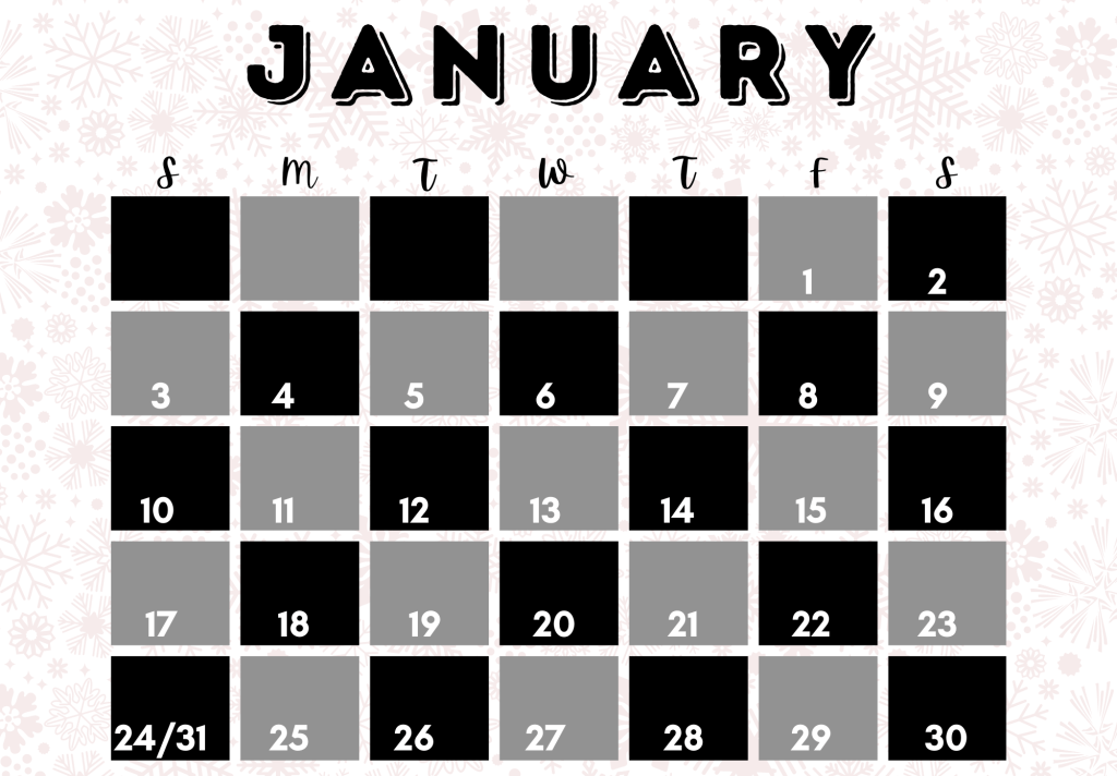 calendar for this january