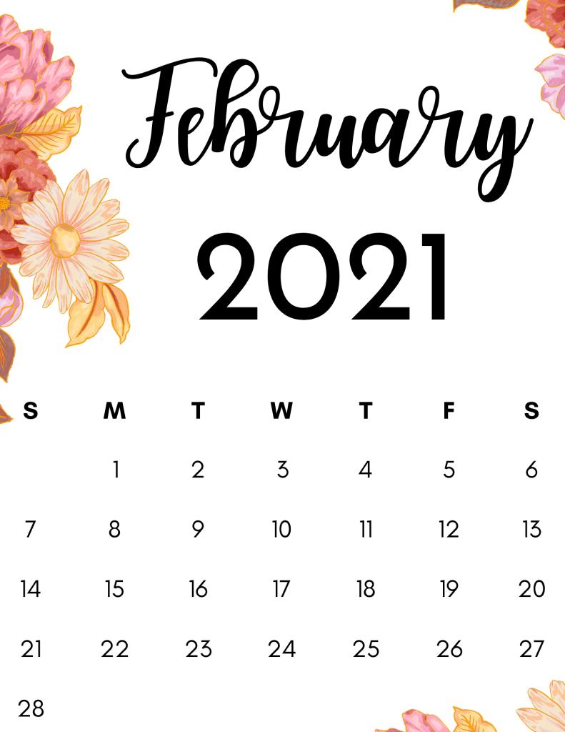 february 2021 calendar floral trendy