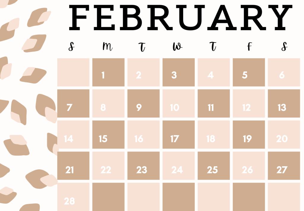 leopard print february calendar 2021
