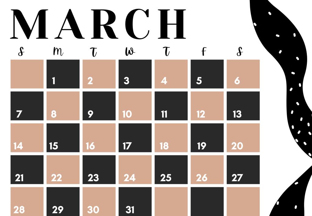 modern and trendy printable calendar march 2021
