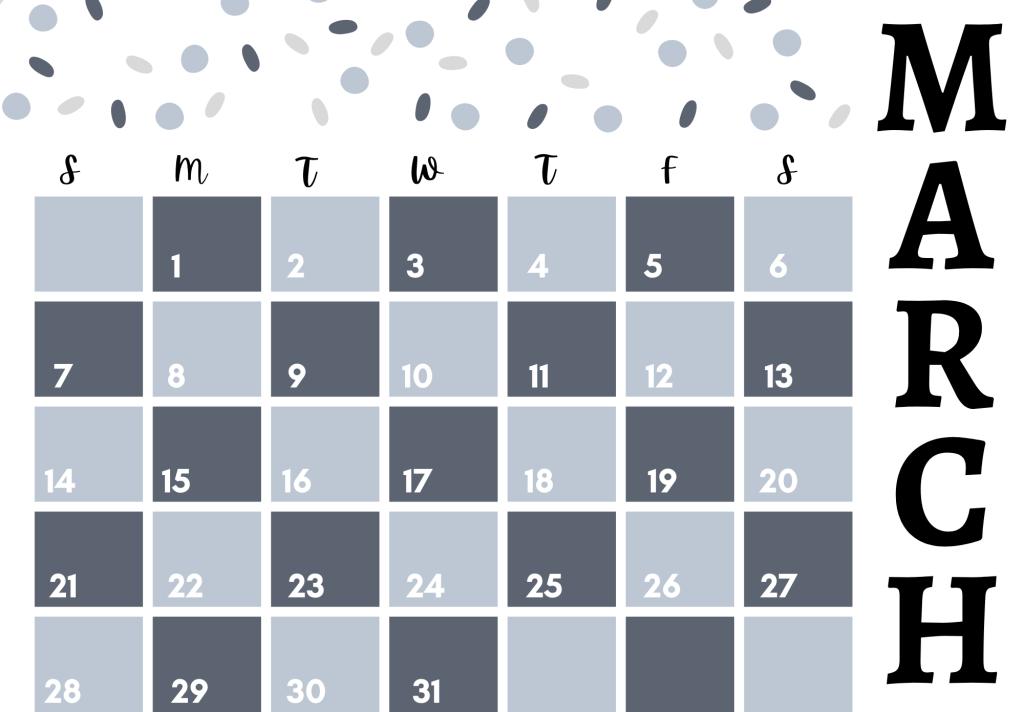 pattern free printable 2021 march calendar