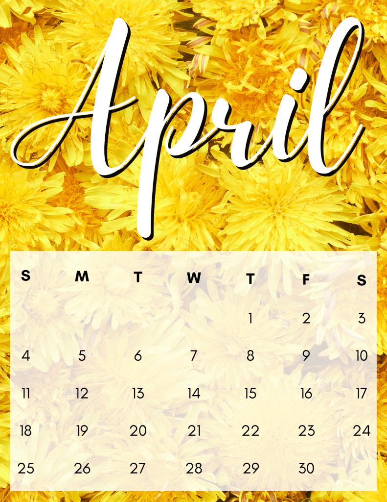 Yellow flowers april printable calendar