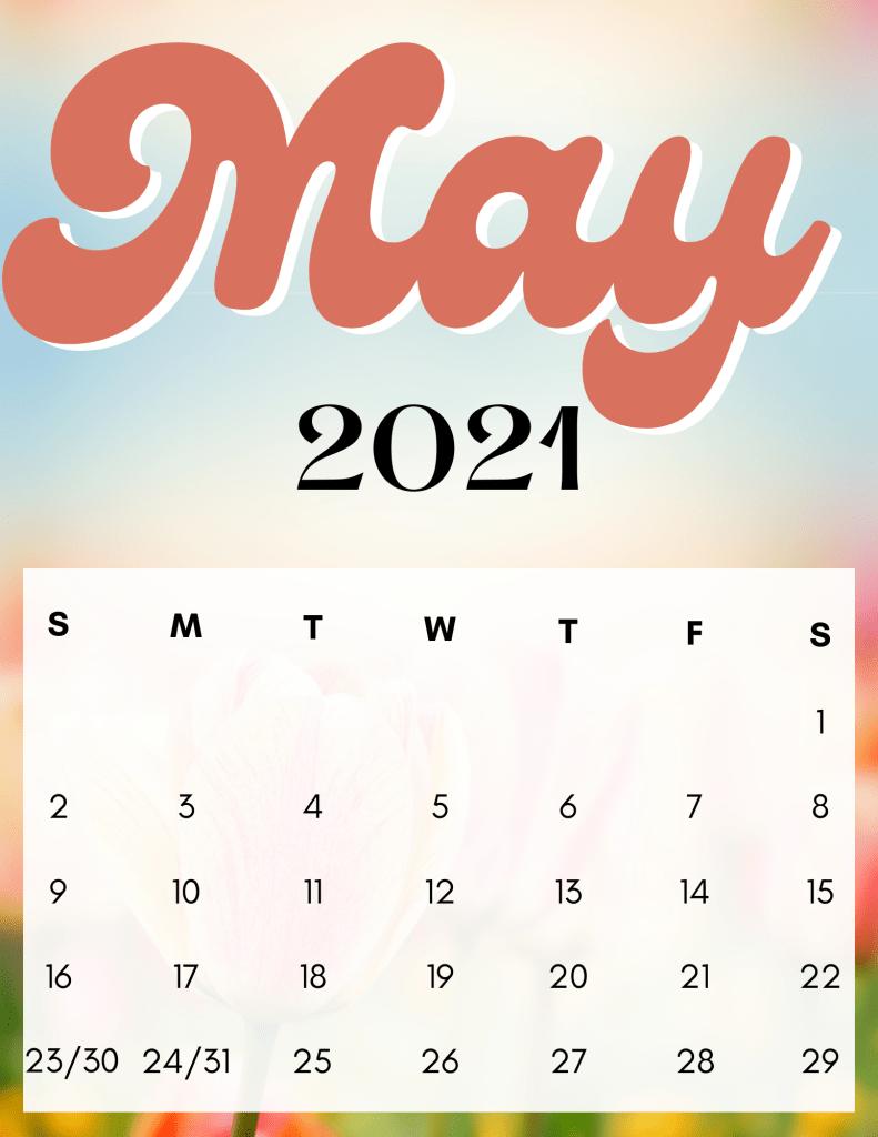 Retro groovy May 2021 free calendar