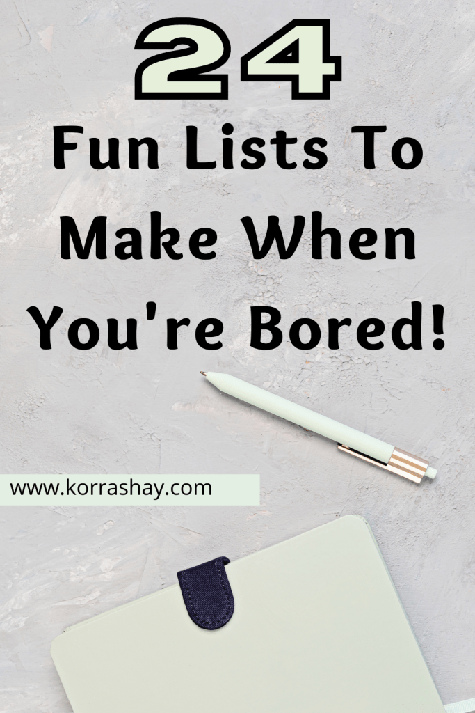 24 Fun Lists To Make When You're Bored: Fun Notebook Ideas!